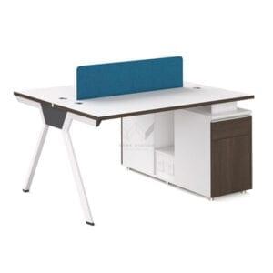 โต๊ะทำงานพร้อมตู้เก็บเอกสาร และแผ่นกันสายตา สำหรับ 2 ที่นั่ง