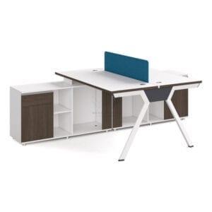 โต๊ะทำงานพร้อมตู้ข้าง 2 ที่นั่ง เสริมตู้ข้างยาว แผ่นกันสายตา ช่องเก็บของ และตู้บ้านเปด
