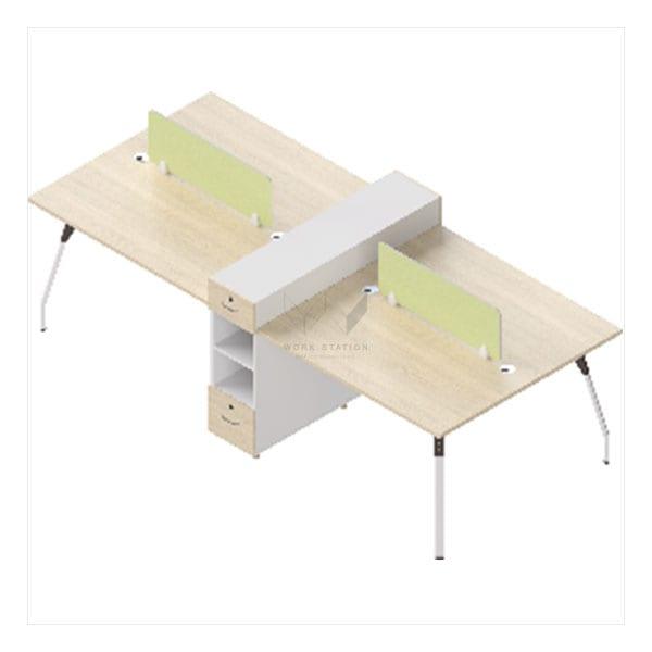 โต๊ะสำนักงานขาโปร่ง 4 ที่นั่ง พร้อมตู้ขั้นกลาง