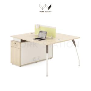 โต๊ะทำงาน พร้อมตู้ 2 ที่นั่ง เสริมตู้ข้าง 2 ที่นั่งพร้อมแผ่นกันสายตา