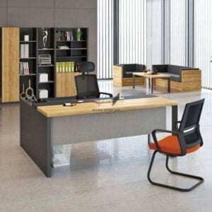 ห้องทำงานตกเเต่งด้วยโต๊ะทำงาน และเก้าอี้สำนักงาน เก้าอี้เพื่อสุขภาพ ตู้เก็บเอกสาร