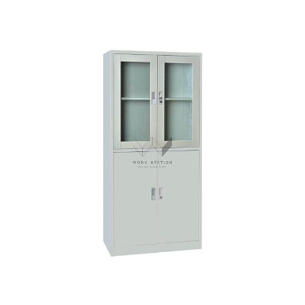 ตู้เก็บเอกวารสีขาว บานเปิดเป็นกระจกพร้อมมือจับในตัว