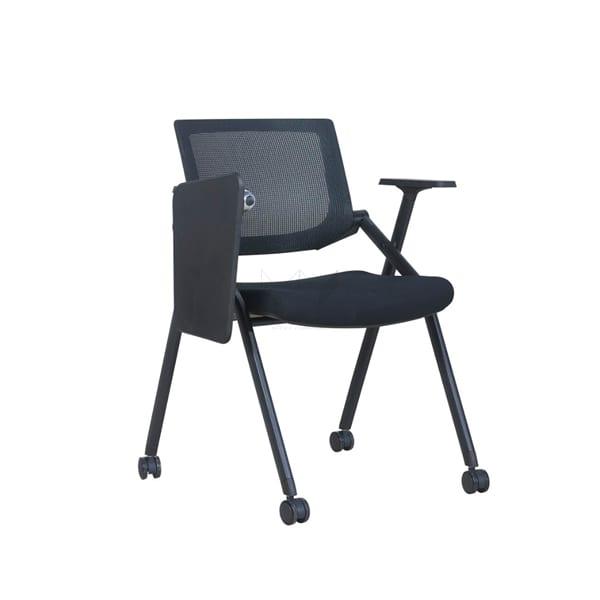 เก้าอี้เลคเชอร์พร้อมล้อเลื่อนสีดำ