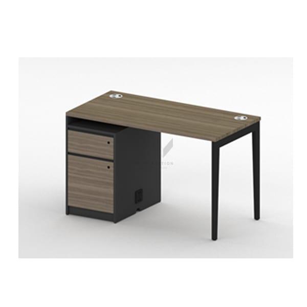 โต๊ะทำงาน สีโทนเข้ม พร้อมตู้ข้าง และปลั๊กไฟ