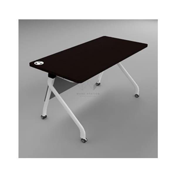 โต๊ะอบรม โต๊ะฝึกอบรม สีขาว-ดำ พร้อมล้อเลื่อน