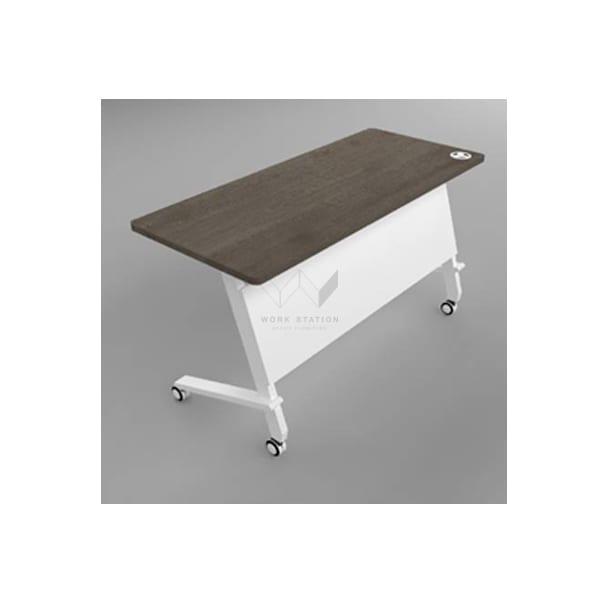 โต๊ะอบรมมีล้อ โต๊ะทำงาน พร้อมล้อเลื่อน เเละแผ่นกันโป๊ สีน้ำตาลขาว