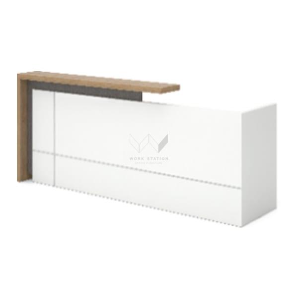 เคาน์เตอร์ต้อนรับ Reception Desk สีขาว เสริมชั้นวางสีน้ำตาล รุ่น WS-WH-22RKH004