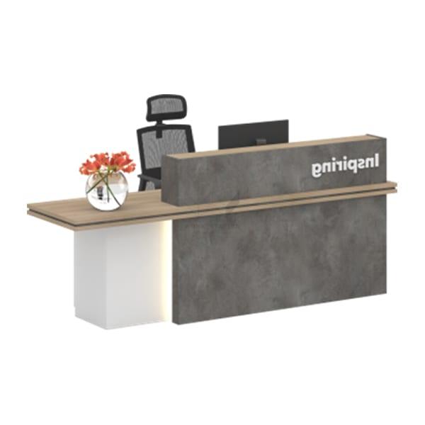เคาน์เตอร์ต้อนรับ Reception Desk สีน้ำตาล-เทา