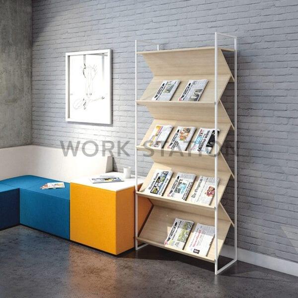 ชั้นวางหนังสือ สียูโรเปี้ยนโอ๊ค สูง 1.9 เมตร