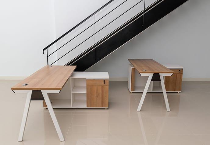 โต๊ะทำงานพร้อมตู้ข้าง สีขาว-น้ำตาล